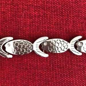 Vintage 1990's Silver Plated Fish Bracelet SZ 7